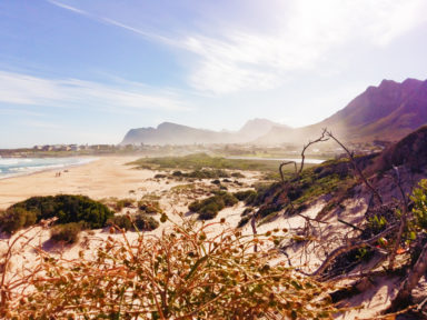Kleinmond to Cape Town - beach view of mountains
