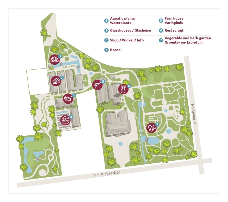map of Stellenbosch university botanical gardens